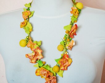Flower crown, Felt Necklace , green yellow, Felted Necklace ,Long Necklace of felt flowers, Ready to Ship