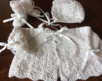 Crochet baby Christening 3 piece sweater set/Baptism/Newborn/Paton'sYarn/sweater/bonnet/booties/FREE USA Shipping