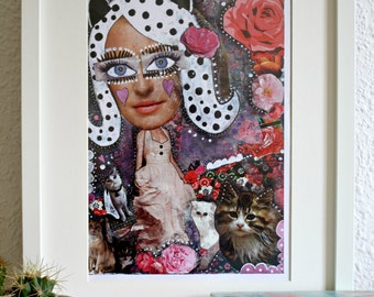Mixed media catwoman art print, cat lover gift.