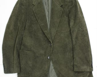 Vintage Dark Green Corduroy Jacket - Mens Cord Blazer-Large - Menswear fashion-suit- country-farmer-large 42 chest