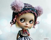 Blythe Victorian Hat TWILIGHT MYSTERY By Odd Princess, Hand Knitted Collection