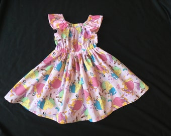 4T Disney Princesses Peasant Dress with Flutter Sleeves, Size 4T, Ready to Ship, Disney, Princess, Birthday, Twirl dress, Easter dress