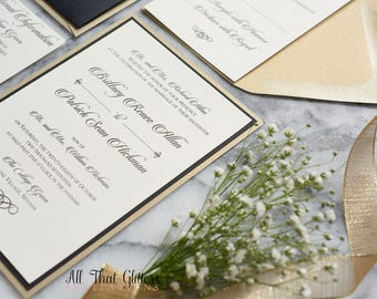 Formal wedding Invitations in a pocket, invitations for Formal Weddings, black and Cream wedding Invites, brittany suite