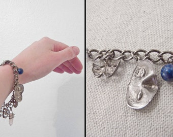 Sterling CHARM Bracelet Drama Masks Rose Quartz Lapis Actor Small Wrist