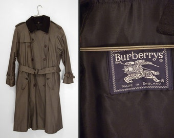 BURBERRYS Sharkskin Trenchcoat B87C 1980s Fully Lined Wool + Cotton Mens Size 48 Reg