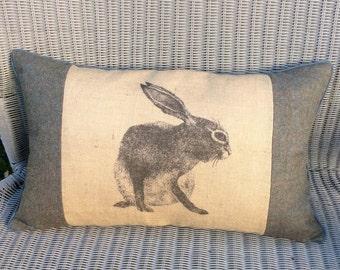 Hare cushion. Rabbit jute and tartan pillow. Tartan and jute cushion. Large Hare print cushion.