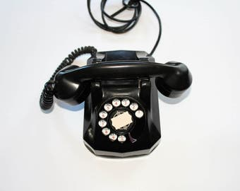 Vintage 1930s Art Deco Telephone Monophone Black Bakelite and Chrome