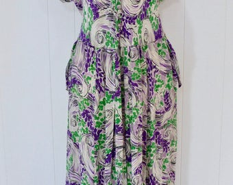 40's Maternity Purple Swirl Rayon Dress Floral Print Button Front Pocket Dress L