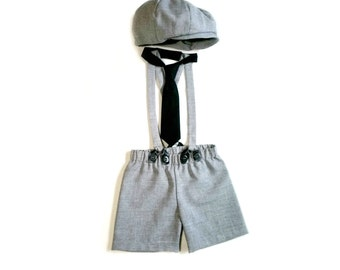 Newsboy Outfit, Newsboy Set, Ring Bearer Outfit, Grey Ring Bearer, Baby Boy Prop, Infant Photo Outfit, Boy Photo Outfits, Baby Boy Gift