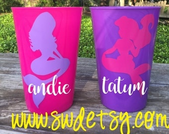 Mermaid Party / Girls Birthday Party Cups / Party Favors / Personalized Cups / Personalized Party Favor / Mermaid Birthday Party Favor /