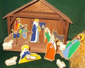 Wood Nativity Set Holy Family Stable Scene Wise Men Donkey Camel Oxen Wood Creche Silhouette Nativity Set Mary Joseph Baby Jesus