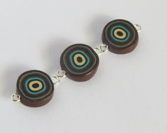 Beads, Retro beads, Flat disc bead, DIY craft beads, Abstract beads, handmade beads, 80's style beads, unique beads, Shygar beads 3 pieces