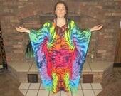 Tie Dye Caftan Poncho, Adult and Plus Size Tie Dye Dress, Dark Rainbow Explosion Tie Dye, L XL 2X 3X