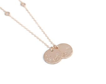 Gold Two Name Mommy Charm Necklace - Gold Filled Disc Mothers Jewelry
