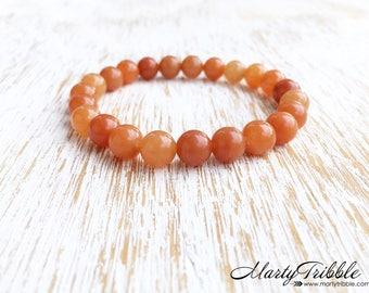 Aventurine Bracelet, Orange Stone Bracelet, Sacral Chakra Bracelet, 2nd Chakra Jewelry, Gemstone Bracelet, Boho Bracelet, Healing Bracelet