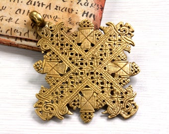 Huge , Large , Cross Pendant , Ethiopian ,Antique Brass , African Pendant , Jerusalem cross, Ethiopia