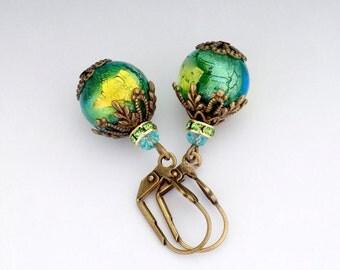 Aqua Green Murano Glass Jewelry, Venetian Drop Earrings, Antiqued Brass Nickel Free Jewelry, Green Dangle Earrings Lampwork, Dorcia