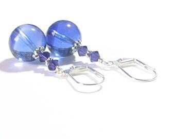 Murano Glass Blue Plum Ball Silver Dangle Earrings, Venetian Glass Jewelry, Italian Jewellery, Clip On Earrings, Lampwork Glass Earrings