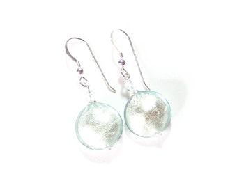 Murano Lampwork Glass Aquamarine Disc Silver Earrings, Sterling Silver Leverback Earrings, Venetian Italian Jewelry, Gift For Her
