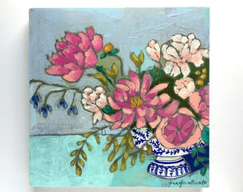 Modern floral still life painting wall art  -  From a Table in Hampton