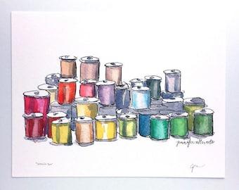 Thread spools art print sewing watercolor decor