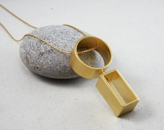 Round Gold pendant Geometric statement long necklace Rectangle Kinetic necklace Long gold necklace Movement jewelry