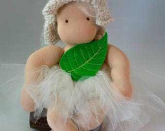 """SALE!!!! Fairy outfit.  Leaf tutu and petal fairy hat.  Spring doll clothes.  Napling clothes.  7-10"""" dolls.  Doll not included."""