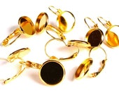 12mm Leverback Earring Settings - Gold tone - Lead free Nickel free Cadmium free (1780) - Flat rate shipping