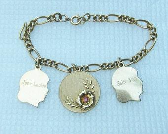 Vintage 12K GF Mothers Charm Bracelet