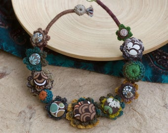 Fiber rustic necklace, unique statement jewelry, crochet with fabric buttons - brown, teal, green, mustard yellow
