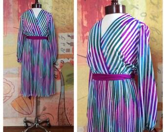 70s Striped Party Dress M/L • Vintage A-Line Dress • 1970s  Sheer Disco Dress • Large 70s Dress • Dancing Queen Dress • ABBA
