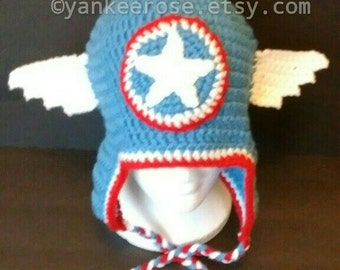 Avengers Captain America Inspired Crochet Hat Pattern in Sizes Toddler to XL Adult