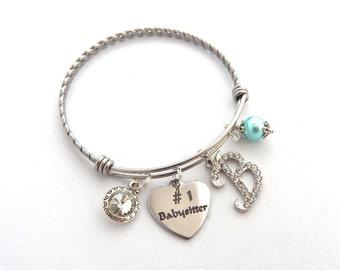 Babysitter Gift, Nanny bracelet, Gifts for Baby Sitters, Babysitter Bangle, Best Babysitter, #1 Babysitter, Gifts for Nannys,