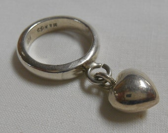 Sterling Silver Dangle Puff Heart Band Ring