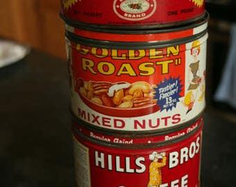 Vintage Coffee & Nut Cans, Home Decor, Garden Decor, Beech-Nut Coffee, Sanka Coffee, Golden Roast Mixed Nuts, Hills Bros Coffee