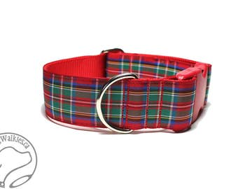 "Royal Stewart Tartan Dog Collar - 1.5"" (38mm) Wide - Red Plaid - Martingale or Side Release -Choice of collar style and size"