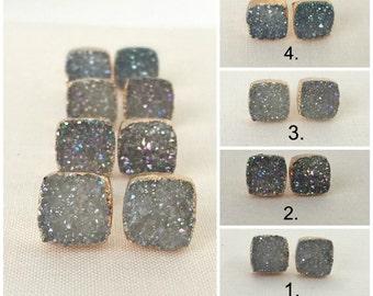 Gold Druzy Earrings | Druzy Stone Stud Earrings | Square Druzy Stone Earrings | Gold Earrings | Square Drusy Stud Earrings | Wedding Gift |