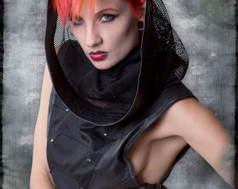 Transmission Cowl with soft Leather Panels & Gunmetal Hardware by Loose Lemur Clothing