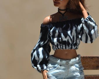 Rocky Summer Top in Tie-Dye Print for Fashion Royalty, Barbie Made to Move, Poppy Parker and other similar dolls with removable hands