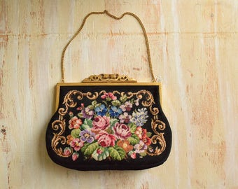 Vintage 1950's Floral Needle Point Clutch | Handmade in the Fabulous 50's