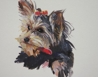 Custom Illustration Gouache watercolor on paper pet portrait