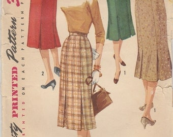 Wonderful 50s Kick Pleat Skirt Pattern Simplicity 1731 Waist 28