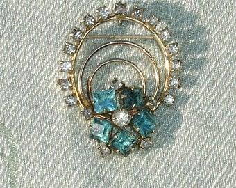 Blue & Clear Rhinestone Brooch or Pendant - Vintage Jewelry