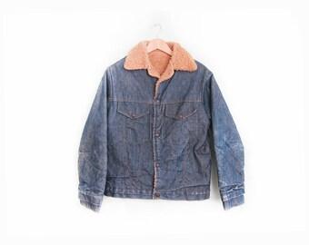 vintage denim jacket / shearling lined / raw denim / 1970s shearling lined denim jacket Small