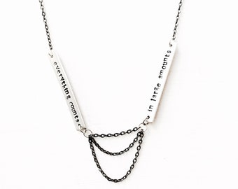 Depeche Mode // Everything Counts Necklace // Rock Music Jewelry // Statement Necklace // Lyrics Necklace // Chain Necklace // Stamped Metal