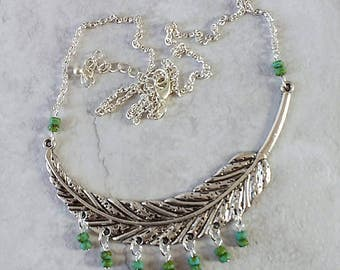 Handmade silver tone feather necklace with green Picasso seed beads, ready to ship, ready to gift, free shipping, for her, made in Montana
