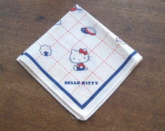 1970s Original Sanrio Hello Kitty Hankie~New-Old Stock/Giftable Red/White/Blue Hello Kitty Gift; Free Shipping/U.S.