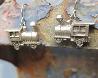 Pewter Train Earrings - LT150- Locomotives, Trains, and Engine Jewelry for the Railroad