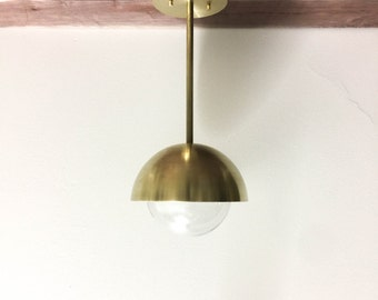 Modern brass globe light industrial solid raw brass light with clear glass globe UL LISTED Butters