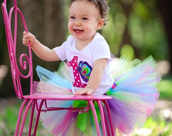 1st Birthday Girl Outfit, Butterfly Birthday Tutu Outfit, Garden Party Birthday, Hot Pink, Purple, Teal, Lime Green Tutu